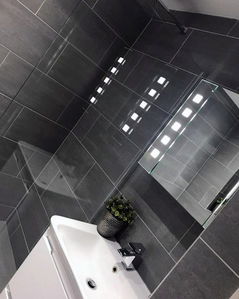 Modern Dark Grey Bathroom Tile Ideas