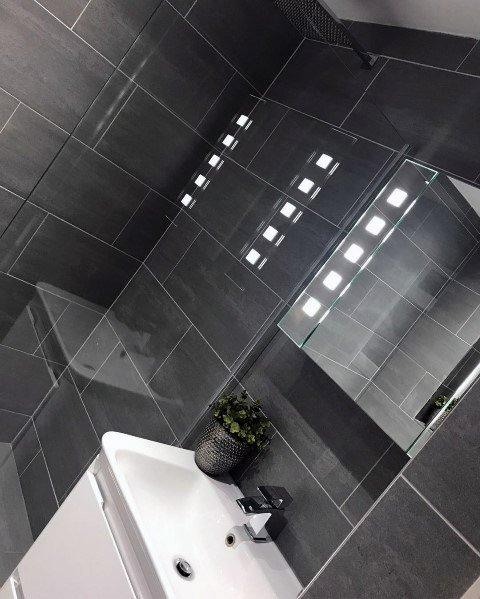 Dark Grey Tiles Small Bathroom Image