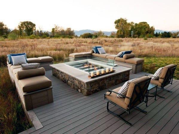 Modern Deck Ideas With Firepit