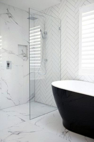 Modern Designs For Marble Bathroom With Black Bathtub