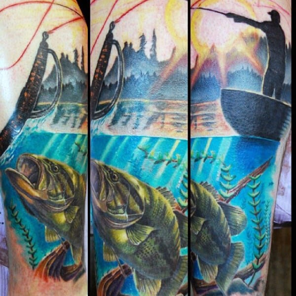 Modern Detailed Nature Bass Fishing Tattoo For Man