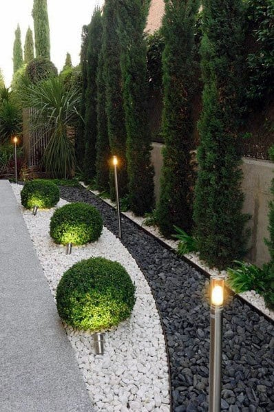 Modern Driveway Landscaping Ideas With Led Lighting