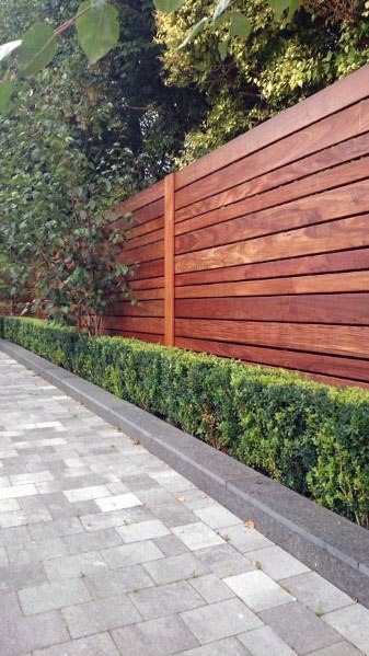 Modern Driveway Landscaping Ideas With Wood Fence