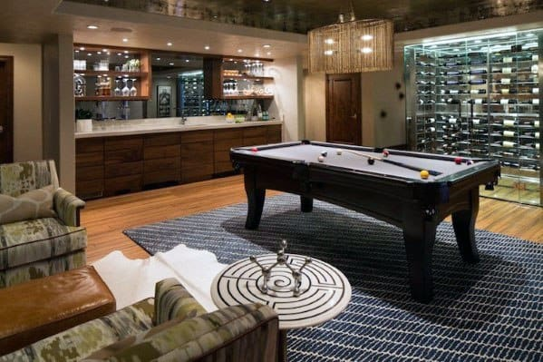 Modern Finished Basement Ideas With Wine Storage And Pool Table