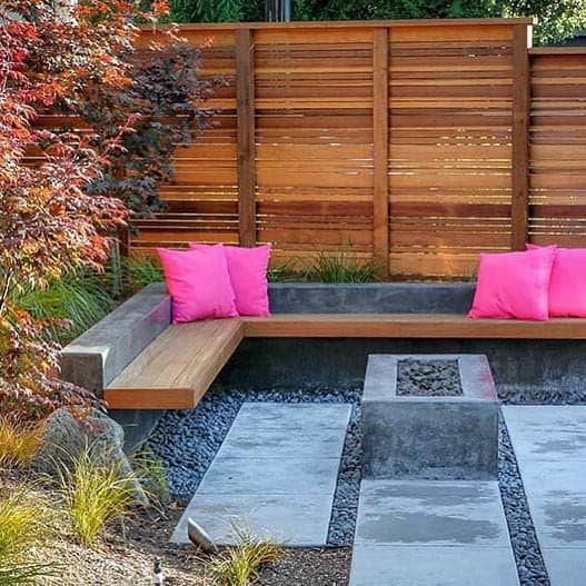 Modern Fire Pit Landscaping Backyard Design With Wood Fence