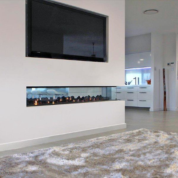 Modern Fireplace Design See Through With White Painted Drywall
