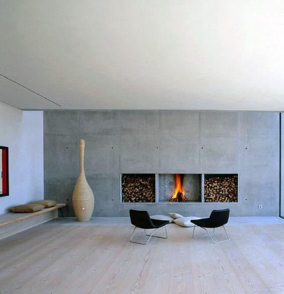 Modern Fireplace Design With Firewood Storage On Sides