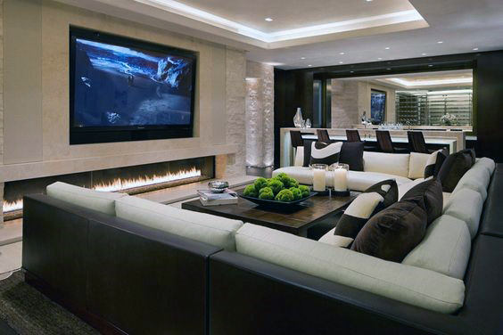 Modern Fireplace Home Basement Lounge Room With Wet Bar