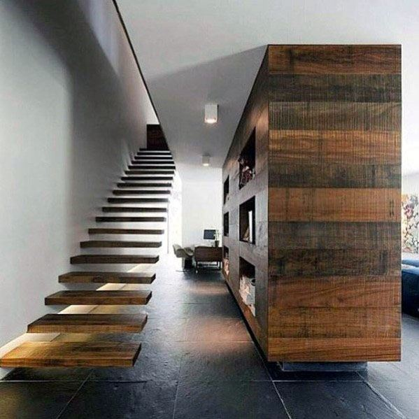 Modern Floating Wood Stairs