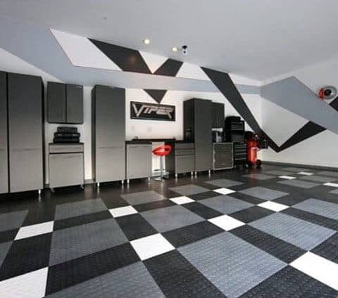 Modern Garage Storage Ideas With Checkered Floor