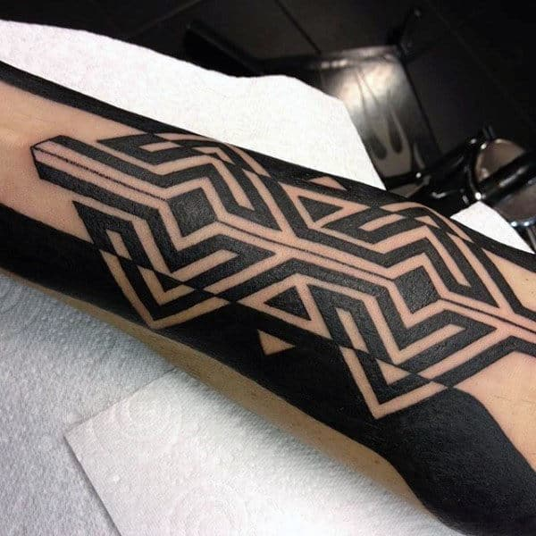 Modern Geometric Guys Tribal Leg Tattoo Design Inspiration