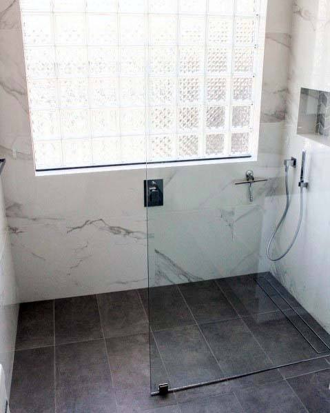 Modern Glass Block In Marble Shower