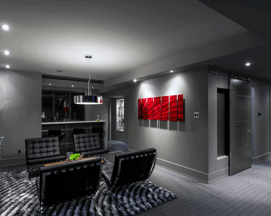 Modern Grey Basement Design Ideas With Small Home Bar