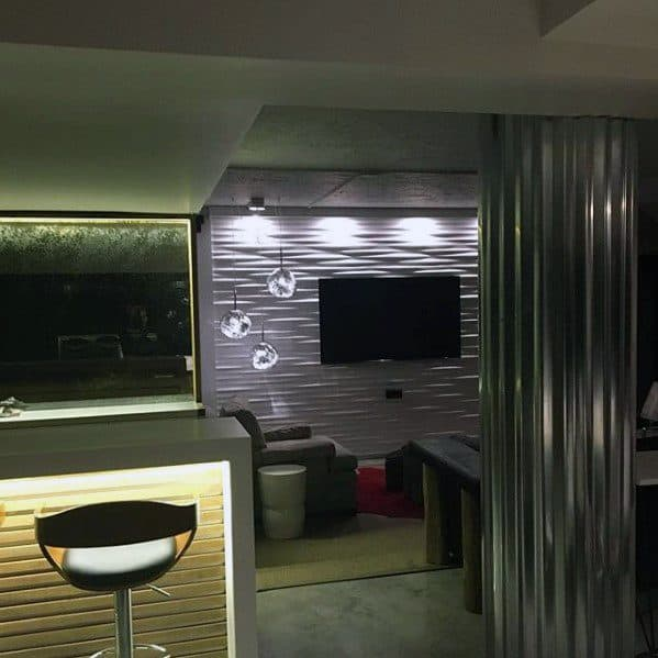 Modern Grey Basement Man Cave Ideas