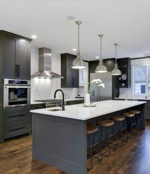 Modern Grey Kitchen Cabinets With White Quartz Countertops Design