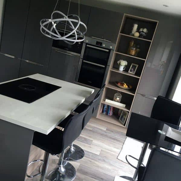 Modern Grey Kitchens Glossy Cabinets
