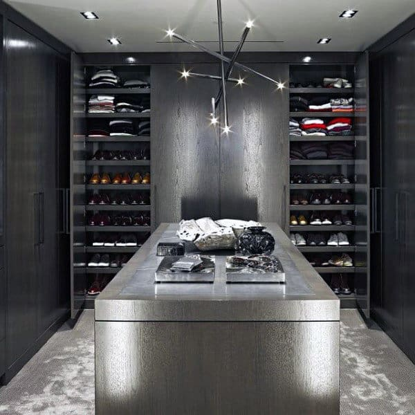 Modern Grey Paint Bachelor Pad Closets