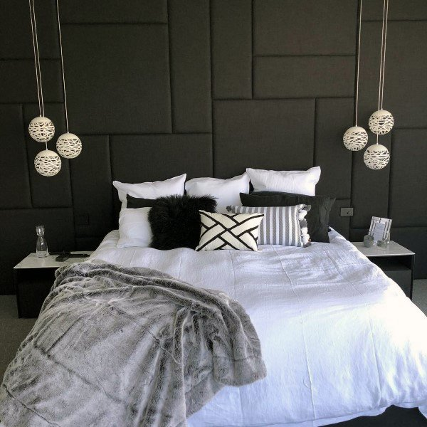 Modern Grey Pattern Headboard Ideas