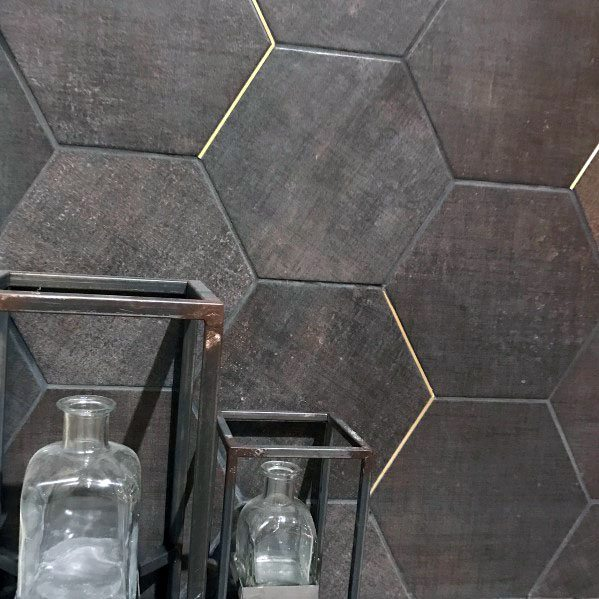 Modern Grey Tile With Gold Accent Grout Bathroom Backsplash Ideas