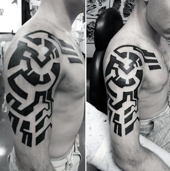 Modern Guys Black Ink Tribal Tattoos For Arms