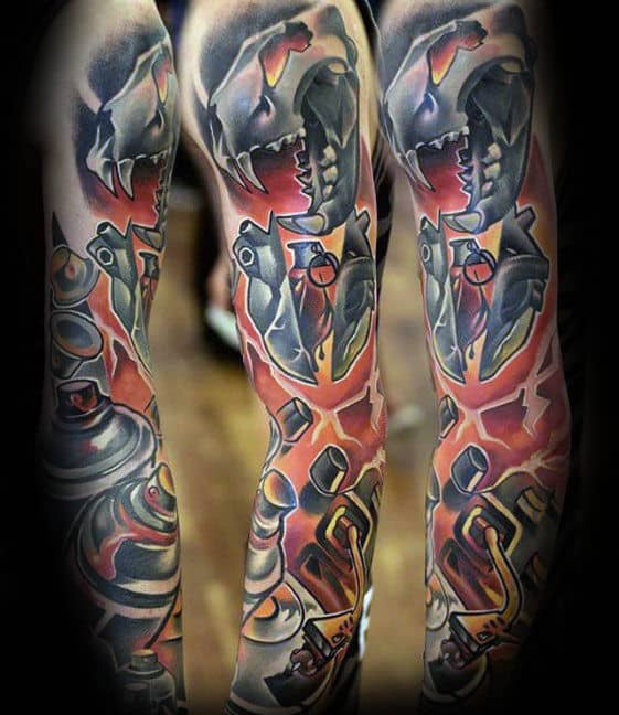 Modern Guys Lion Skull Full Sleeve Tattoos
