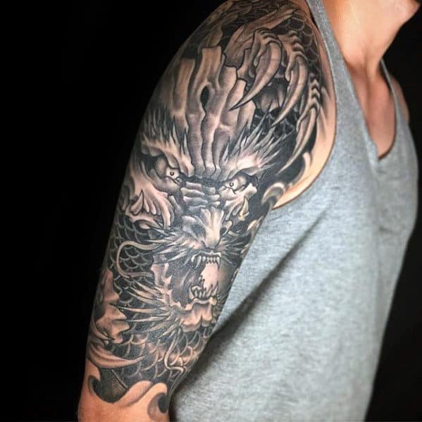 30 dragon half sleeve tattoos for men fire spewing design ideas. Black Bedroom Furniture Sets. Home Design Ideas