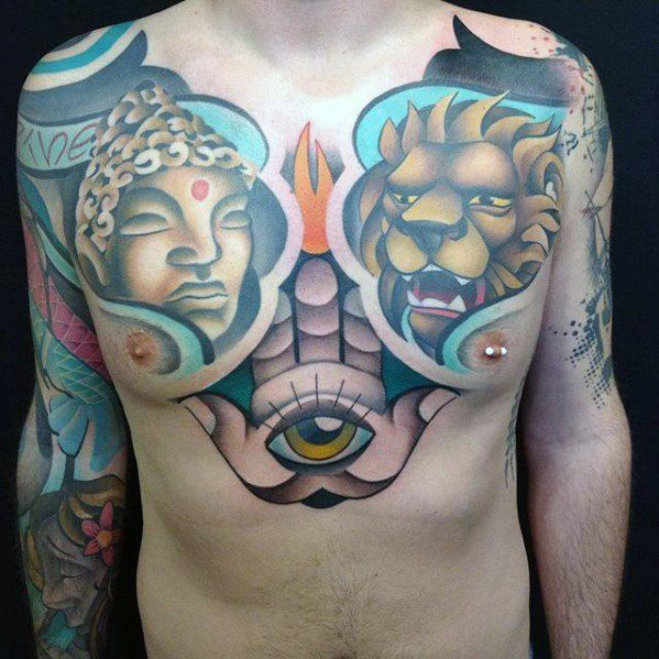Modern Guys Upper Chest Cover Up Tattoo Inspiration