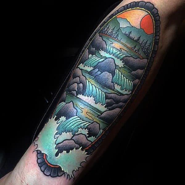Modern Guys Waterfall Forearm Tattoo Ideas