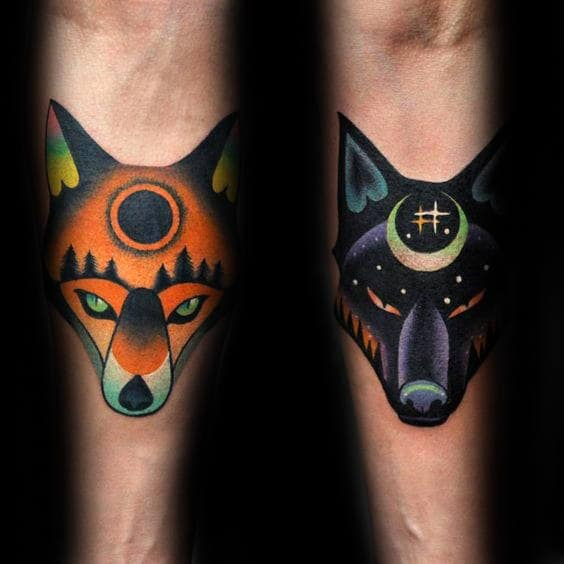 Modern Guys Wolf Forearm Tattoos