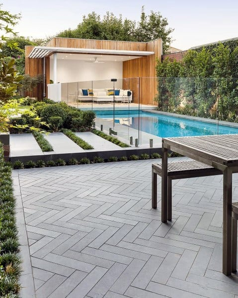 Modern Herringbone Patio Pool Landscaping Backyard Ideas