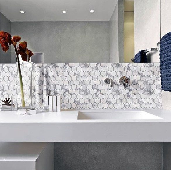 Modern Hexagon Marble Tiles Bathroom Backsplash Ideas