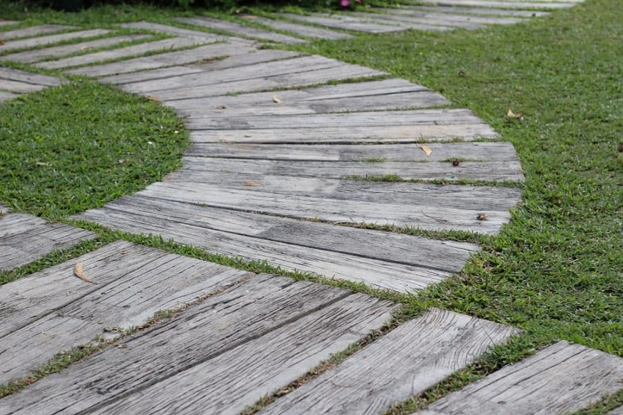 Modern Home Backyard Designs Wooden Walkway