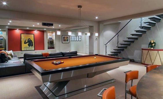 Modern Home Entertainment Basement Room Design With Pool Table