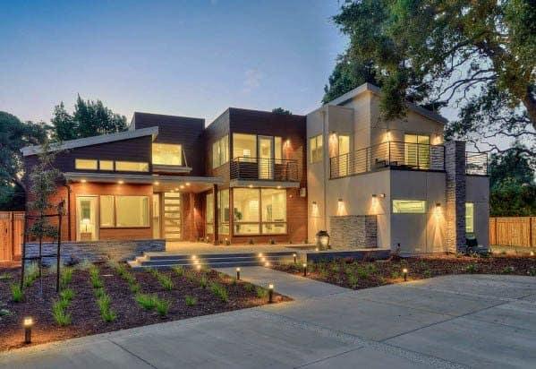 Modern Home Front Yard Landscape Lighting Exterior Design