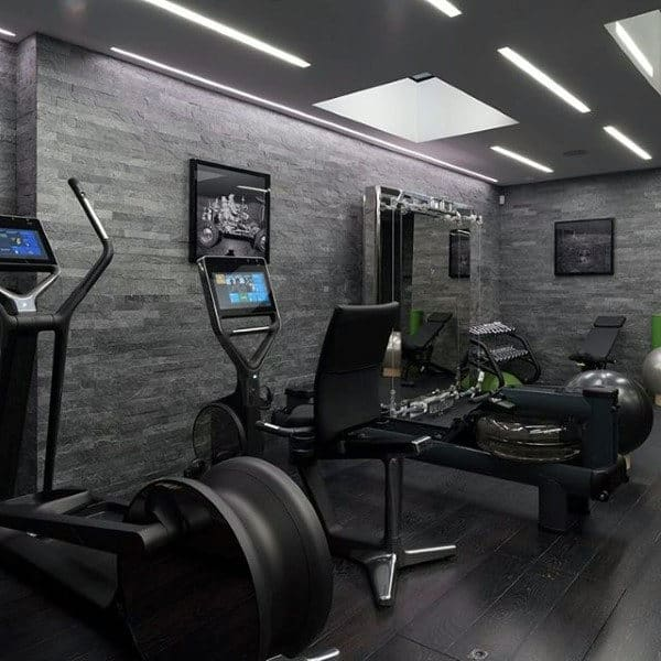 Modern Home Gym With Grey Walls
