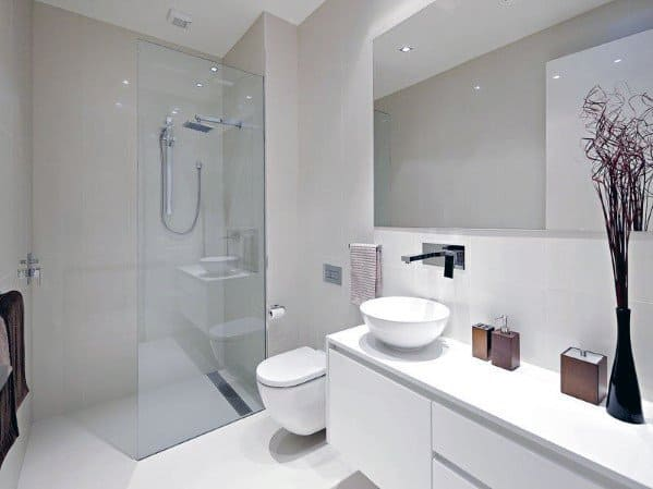 Top 60 best white bathroom ideas home interior designs for All white bathroom designs