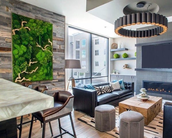 Modern Home Living Room Wood Wall Ideas