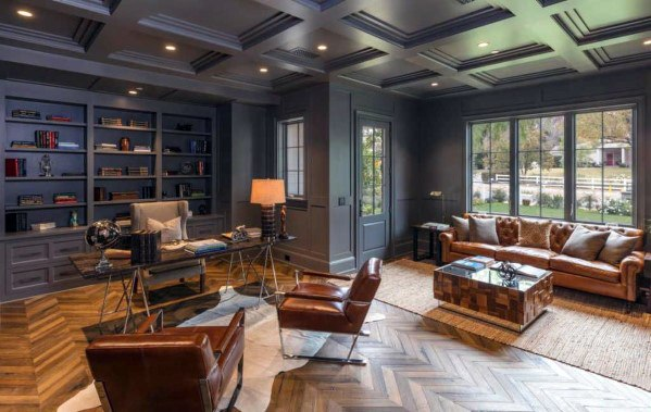 Modern Home Office Painted Grey Coffered Ceiling