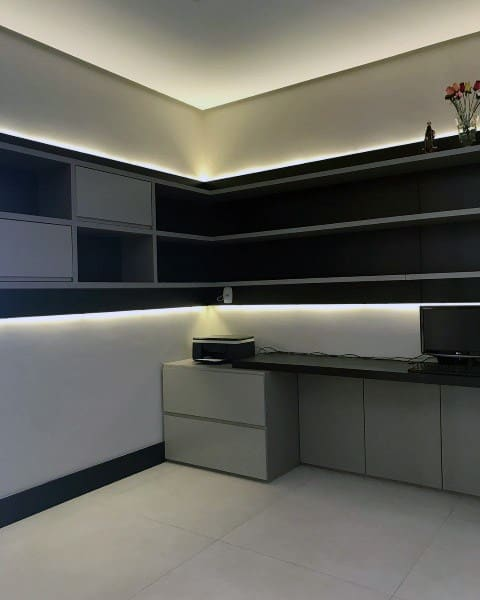 Modern Home Office With Custom Lighting