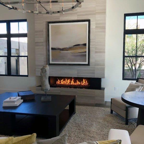 Modern Home Stunning Interior Linear Fireplace Designs