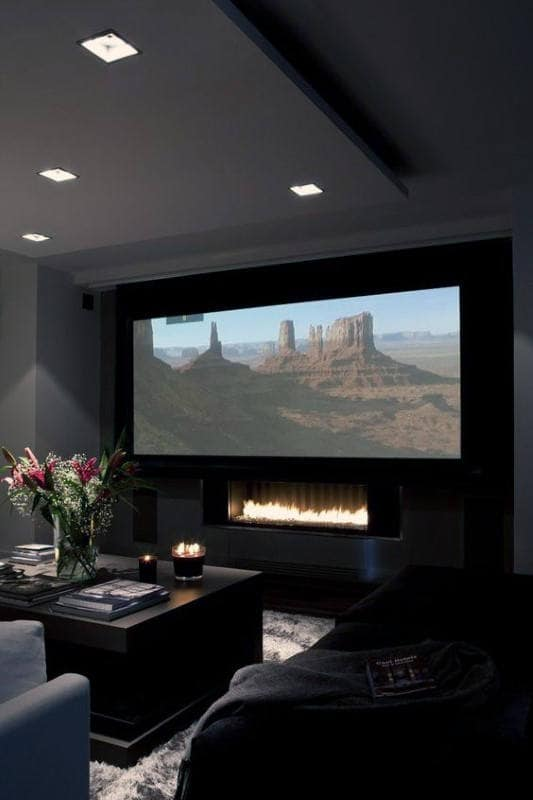 Modern Home Theater Design With Fireplace Under Projector Screen Part 58