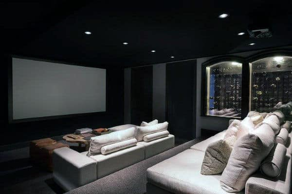 Modern Home Theater With Attached Wine Cellar Design