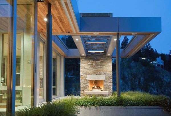 Modern Home With Cool Outdoor Fireplace Design