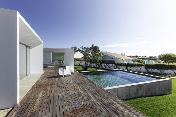 Modern House Above Ground Patio Pool Wooden Deck