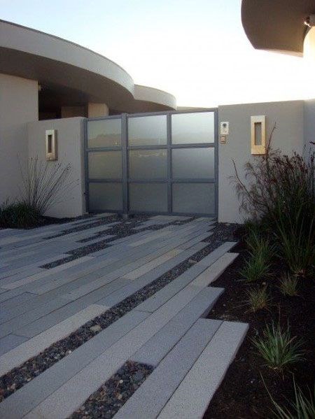 Modern House Concrete Strips Rectangle Driveway Ideas