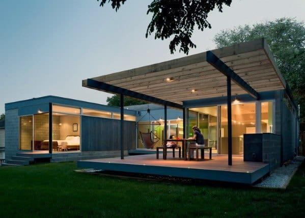 Modern House Floating Deck Backyard Design
