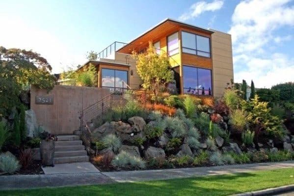 Modern House Slope Landscaping Ideas For Front Yard