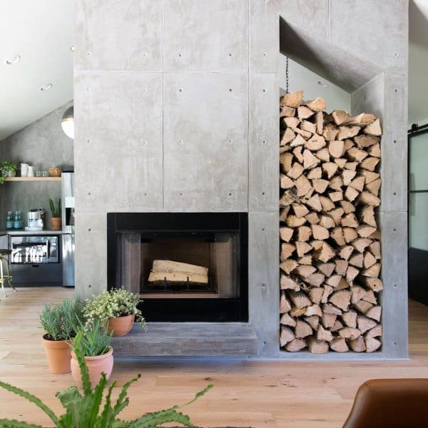 Top 60 Best Concrete Fireplace Designs - Minimalistic Interior Ideas