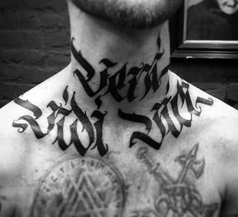 Modern Insane Veni Vidi Vici Mens Neck And Chest Tattoo
