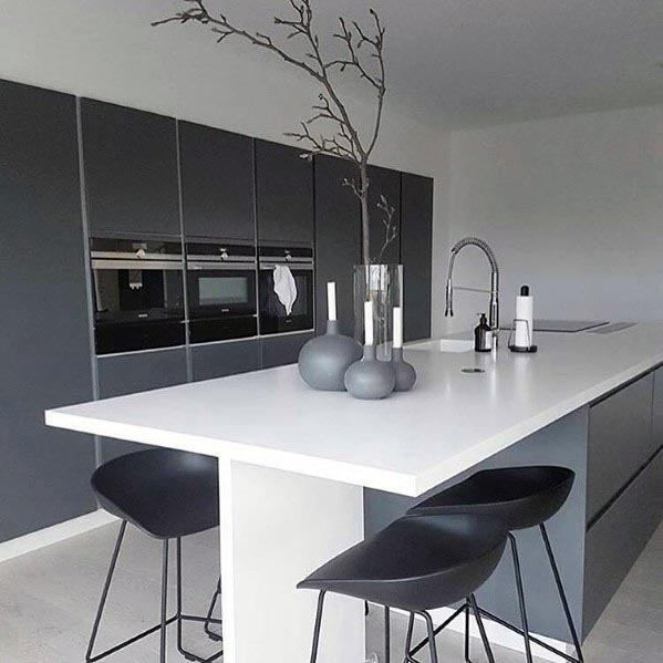 Modern Interior Ideas Glossy Grey Kitchen Cabinets With White Countertops